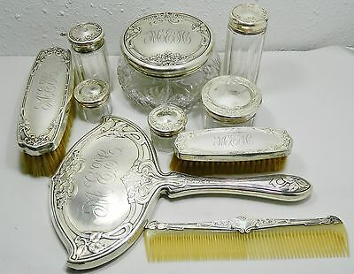 Rare Antique Foster & Bailey c.1878-98 Vanity Grooming Sterling Silver 10pc Set