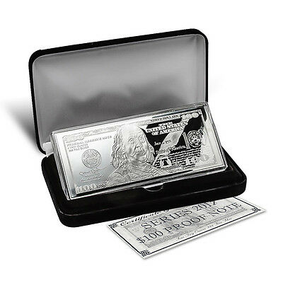 2017 ~ $100 Dollar Bill ~4~Oz.~ .999 Pure Silver  Bar ~ Gift Box ~ Coa ~ $122.88