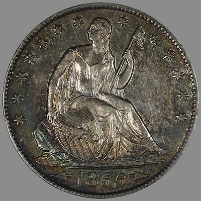 U.S. Seated Half 1855-O with arrows. PCGS AU55 with colorful toning
