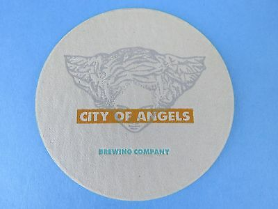 Beer Bar COASTER *~* CITY OF ANGELS Brewing Co ** CLOSED Brewery from Long Ago!
