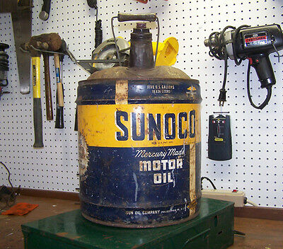 1946 SUNOCO MERCURY MADE MOTOR OIL 5 Gallon Can Gas Station Advertising