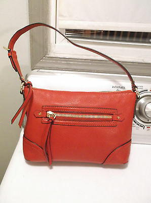 Michael Kors Red Leather Front& Top Zipper Tote Shoulder Handbag