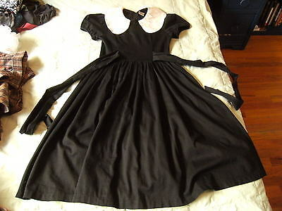 vintage 80s black dress with white collar waist ties cotton small