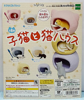 Miniatures Kitten And Cat House , 6pcs - Epoch Capsule Toy  , h#3