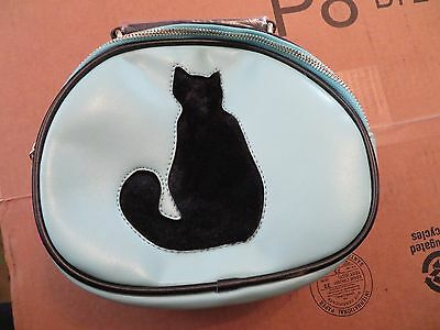 Beibaobao Leather-Like Purse with Fake Fur Cat Silhouette Light Blue New w/Tags