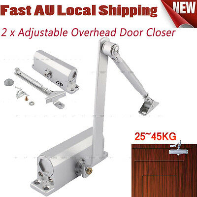 2X Adjustable Hydraulic Automatic Fire Rated Silver Door Closer Suits 25~45Kg