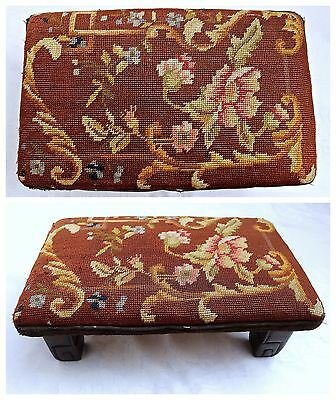 c.19th C Foot Stool Antique Embroidered Needlepoint Cover Wood Bench