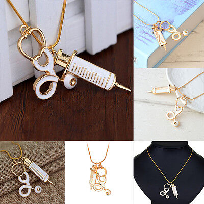 Hot Women Alloy Medical Stethoscope Charm Syringe Pendant Necklace Chain Jewelry