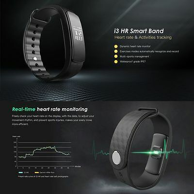 i3 HR Heart Rate Monitor Wristband with Fitness Tracker for IOS android