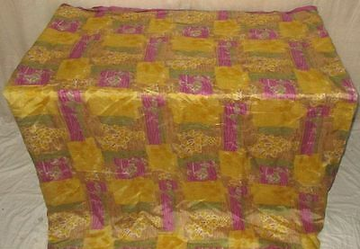 Pure silk Antique Vintage Sari Saree Fabric REUSE 4y Fti Yellow Pink #AC3AS