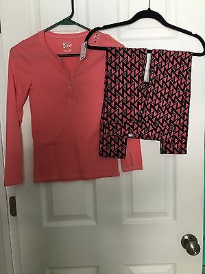 Justice Girls Complete Outfit Size 10 Long sleeve Shirt And Leggings Coral NWT!
