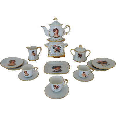 Antique Child Doll Porcelain Tea Set w/ Portraits French Victorian Miniature