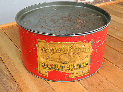 Vintage Large Commercial Size HOME BRAND 25 lb. PEANUT BUTTER Advertising Tin