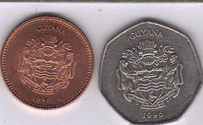 2 HIGH DENOMINATION COINS from GUYANA - 5 & 10 DOLLARS (BOTH DATING 1996)