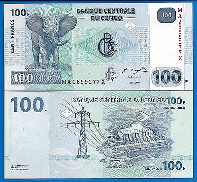 Congo P-98 100 Francs Year 2007 Elephant Uncirculated Banknote Africa