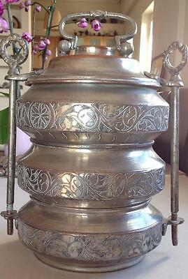 Antique Turkish Islamic Engraved Copper 3 Tier Lunch Box  Food  Carrier  Sefer