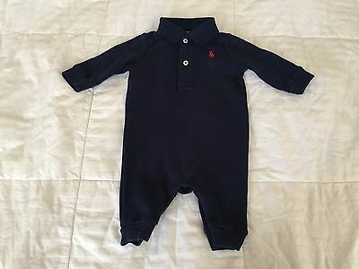 Ralph Lauren baby boy outfit 3 months old long sleeve navy blue (see condition)