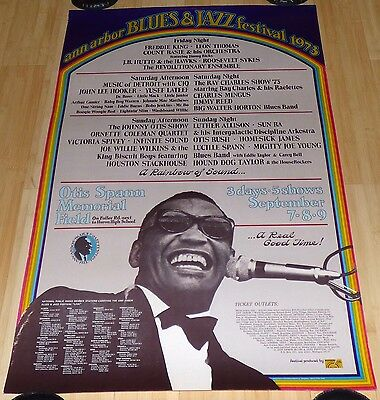 Ann Arbor Blues And Jazz Festival 1973 Original Concert Poster Ray Charles