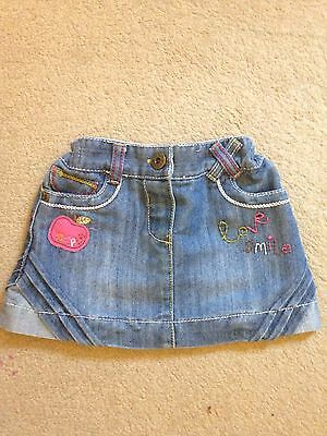 Baby Girls Embroided Denim Skirt By Next, Age 6-9 Months, Gc