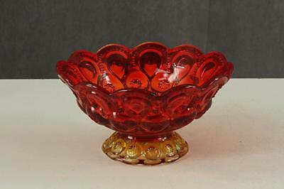Vintage LG Wright Moon & Stars Pattern Red Yellow Amberina Glass Footed Bowl
