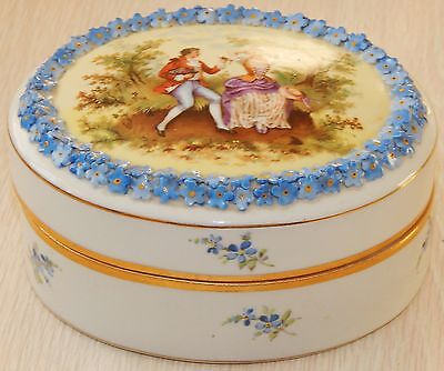 Porcelan Portrait Oval Covered Elfinware Dresser Box Jar Von Schierholz  Germany