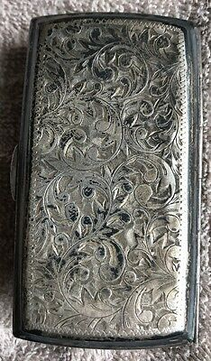 Solid Sterling Silver 950 Cigarette Case Holder Antique 78 Grams