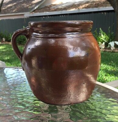 Antique Albany Slip Stoneware Bean Pot/Crock ~ #2 Primitive 1800s