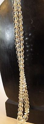 "kzr4 CUT LEAD CRYSTAL BEAD NECKLACE, 37"" LONG OPERA LENGTH"