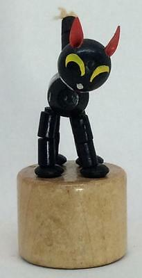 Vintage Felix THE CAT Wooden wood Push Puppet Collapsing articulated TOY black