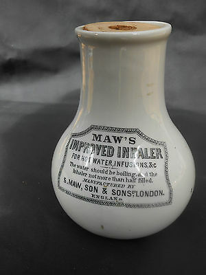 """Small Early 20th c.** MAW'S IMPROVED INHALER ** (Only 5.25"""" High) # F - Unused"""