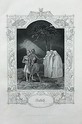 Antique Shakespeare Print - Victorian Steel Engraving - Witches, Macbeth