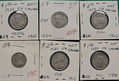 Collection Of 18 Canadian 5-Cent Pieces: 1922 - 1958.  Range From VG To MS