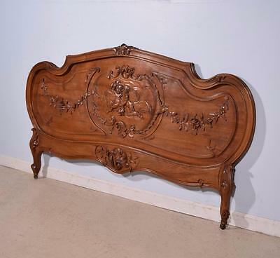 French Antique Louis XV Queen Size Bed Headboard with Cherubs in Walnut