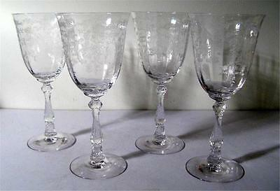 FOSTORIA NAVARRE Clear Set of 4 Water Goblets  **MINT**