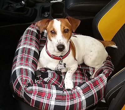 Soft Tartan Plaid Dog,Pet Car Seat,Boot Bed comfort padded Cushion Basket