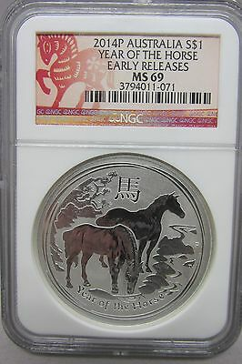 2014 P Australia Year of the Horse Lunar NGC PF 69 Silver Proof 1 oz Coin