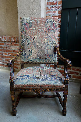 Antique French Carved Walnut Fireside Dining Arm Chair Tapestry Unicorn Lady