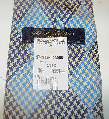 NEW Brooks Brothers Mens silk tie necktie BLUE WOVEN Solid NWOT USA