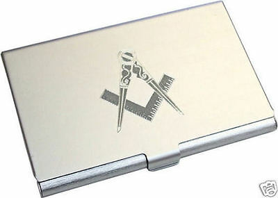 Personalised Masonic Compass And Square Business Card Holder Engraved