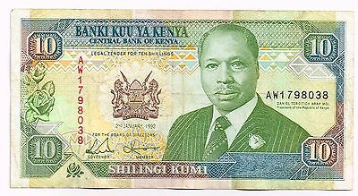 1992 KENYA 10 SHILLINGS NOTE - p24d