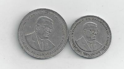 2 COINS from MAURITIUS - 1 & 5 RUPEES (BOTH DATING 1987).