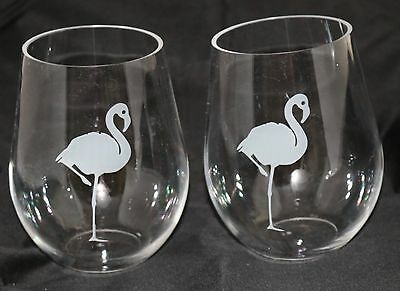TROPICAL FLAMINGO Plastic Stemless Wine Glass Set 2 NEW Clear Outdoor Summer Fun