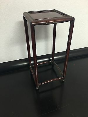 Miniature Chinese Small Carved Rosewood Pedestal Table Plant Stand ~perfect~