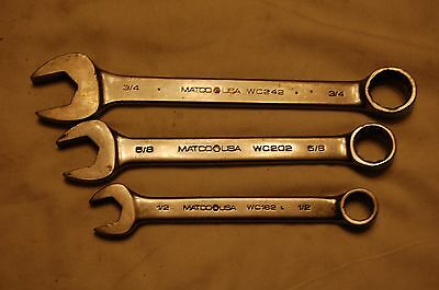 "Matco Tools Short Wrenches 1/2"", 5/8"" & 3/4"" USA"
