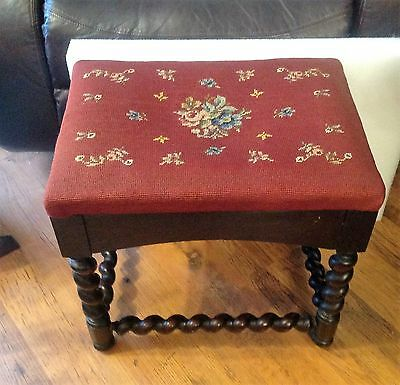 Antique Floral Needlepoint Topped Stool/Bench-Wooden Barley Twist Legs Design