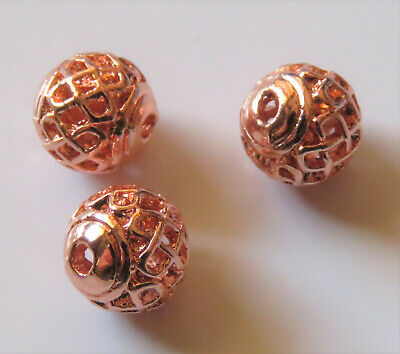 50pcs 8mm Round Metal Alloy Hollow Spacer Beads - Rich Rose Gold