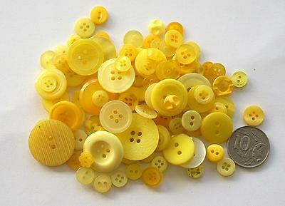 Yellow Mixed Buttons - 2 Options 50 & 100 - Scrapbooking & Craft & Sewing