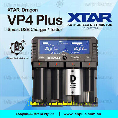 XTAR Dragon VP4 Plus Smart LCD Fast 2A Battery Charger Tester Resistance Revive