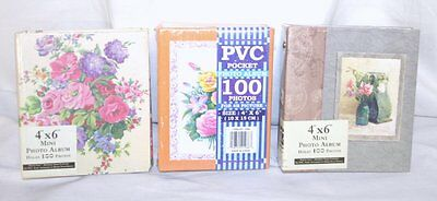 Photo Album Lot of 3 Mini Holds 4x6 or smaller 100 PaGeS each NeW