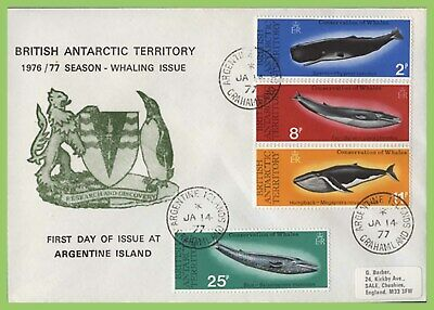 Br. Antarctic Territory 1977 Whale issue on First Day Cover (for Argentine Is.)